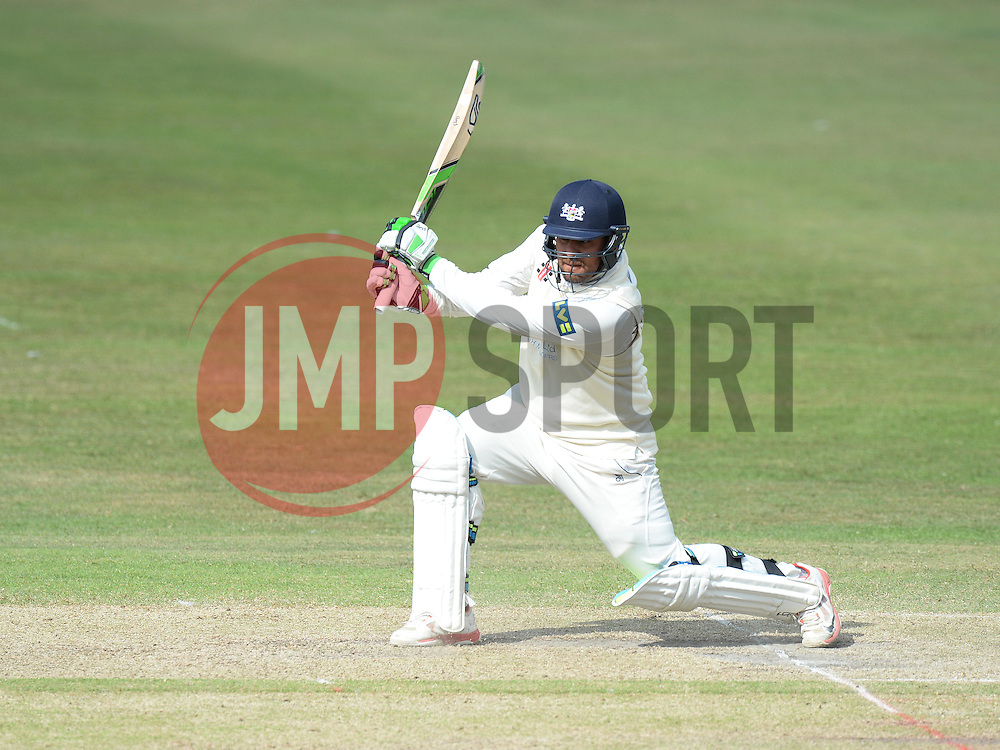 Kieran Noema-Barnett of Gloucestershire hits the ball for a 4 to get a half century. - Photo mandatory by-line: Alex James/JMP - Mobile: 07966 386802 - 17/07/2015 - SPORT - Cricket - Cheltenham - Cheltenham College - Gloucestershire v Leicestershire - LV=County Championship Division 2