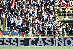 """Foto LaPresse/Filippo Rubin<br /> 27/04/2019 Bologna (Italia)<br /> Sport Calcio<br /> Bologna - Empoli - Campionato di calcio Serie A 2018/2019 - Stadio """"Renato Dall'Ara""""<br /> Nella foto: ESULTANZA GOAL BOLOGNA NICOLA SANSONE (BOLOGNA FC)<br /> <br /> Photo LaPresse/Filippo Rubin<br /> April 27, 2019 Bologna (Italy)<br /> Sport Soccer<br /> Bologna vs Empoli - Italian Football Championship League A 2017/2018 - """"Renato Dall'Ara"""" Stadium <br /> In the pic: CELEBRATION GOAL BOLOGNA NICOLA SANSONE (BOLOGNA FC)"""