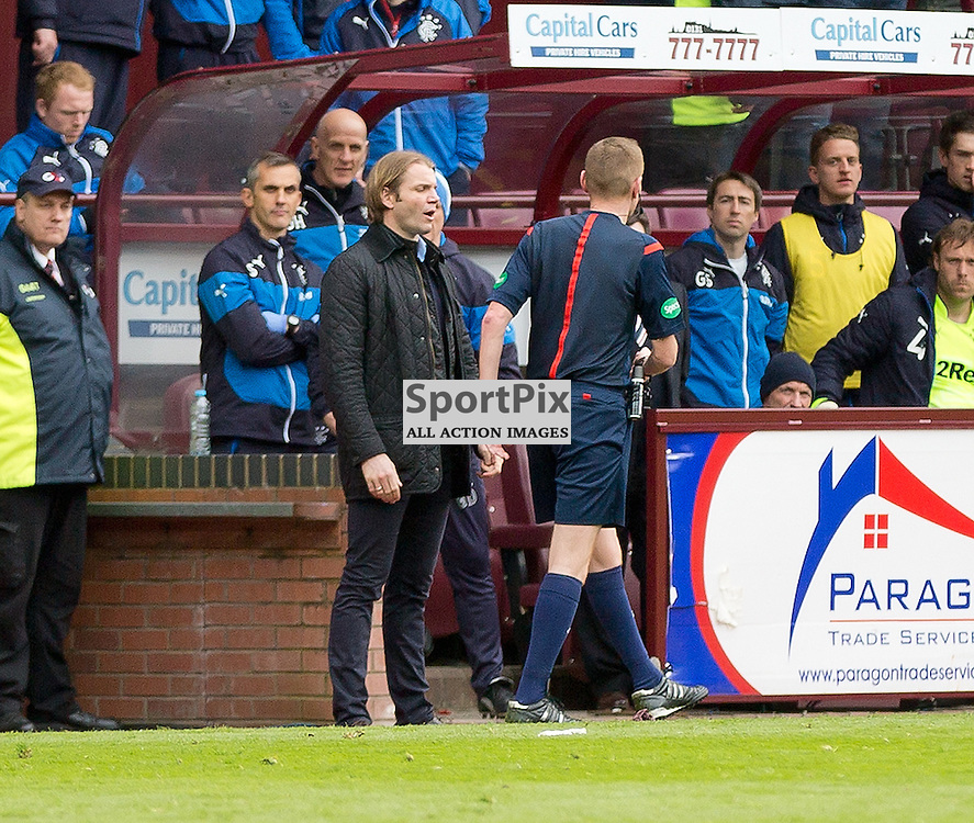Hearts v Rangers Scottish Championship 2 May 2015; manager Robbie Neilson (Hearts) being sent from the touchline during the Heart of Midlothian v Rangers Scottish Championship match played at Tynecastle Stadium, Edinburgh; © Chris McCluskie | SportPix.org.uk