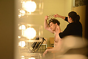 MANHATTAN, NEW YORK, OCTOBER 19, 2016 Alban Lendorf, the newest male principal at ABT, is seen at his debut performance with the company, performing two ballets, Symphonic Variations and The Brahms Haydn Variations, at the Koch Theater in Lincoln Center in Manhattan, NY. Jill Haley does hair styling for Lendorf. He prepares for his second dance and removes the crown from the first dance. 10/19/2016 Photo by ©Jennifer S. Altman/For The New York Times