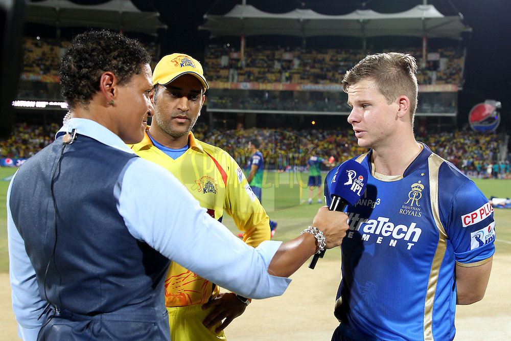 Steve Smith captain of Rajasthan Royals interviewed during toss of match 47 of the Pepsi IPL 2015 (Indian Premier League) between The Chennai Superkings and The Rajasthan Royals held at the M. A. Chidambaram Stadium, Chennai Stadium in Chennai, India on the 10th May 2015.Photo by:  Prashant Bhoot / SPORTZPICS / IPL
