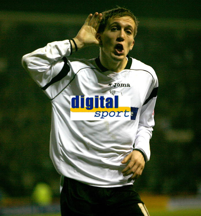 Arturo Lupoli of Derby County celebrates his second goal against Wrexham