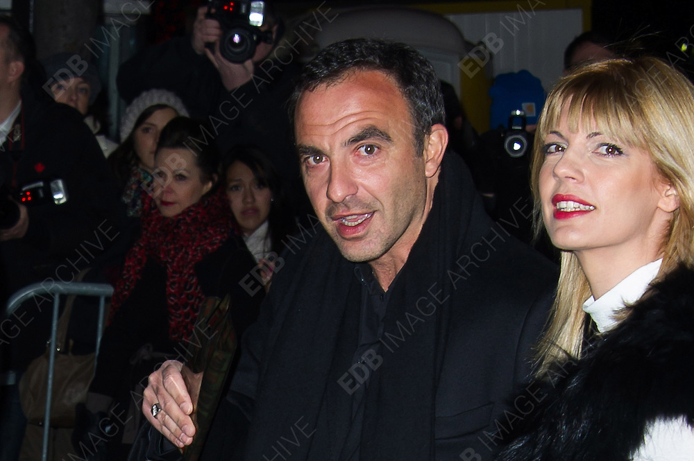 02.MARCH.2013. PARIS<br /> <br /> TINA GRIGORIOU AND NIKOS ALIAGAS ARRIVING AT THE JEAN-PAUL GAULTIER'S FALL-WINTER 2013-2014 READY-TO-WEAR COLLECTION SHOW HELD ON THE WAGRAM STREET IN PARIS.<br /> <br /> BYLINE: EDBIMAGEARCHIVE.CO.UK<br /> <br /> *THIS IMAGE IS STRICTLY FOR UK NEWSPAPERS AND MAGAZINES ONLY*<br /> *FOR WORLD WIDE SALES AND WEB USE PLEASE CONTACT EDBIMAGEARCHIVE - 0208 954 5968*