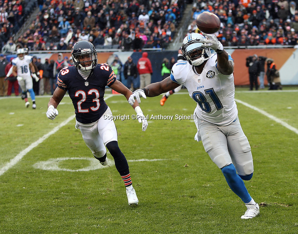 Detroit Lions wide receiver Calvin Johnson (81) just misses catching a fingertip pass on fourth down with 39 seconds left in the second quarter while covered by Chicago Bears cornerback Kyle Fuller (23) during the NFL week 17 regular season football game against the Chicago Bears on Sunday, Jan. 3, 2016 in Chicago. The Lions won the game 24-20. (©Paul Anthony Spinelli)