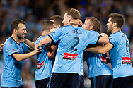SYDNEY, AUSTRALIA - APRIL 06: Sydney FC celebrate the goal of midfielder Milos Ninkovic (10) at round 24 of the Hyundai A-League Soccer between Sydney FC and Melbourne Victory on April 06, 2019, at The Sydney Cricket Ground in Sydney, Australia. (Photo by Speed Media/Icon Sportswire)