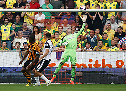 Hull City's Allan McGregor saves from Norwich City's Ricky van Wolfswinkel  - Photo mandatory by-line: Matt Bunn/JMP - Tel: Mobile: 07966 386802 24/08/2013 - SPORT - FOOTBALL - KC Stadium - Hull -  Hull City V Norwich City - Barclays Premier League