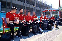 RUNCORN, ENGLAND - Tuesday, May 22, 2018: Wales players travel by train as they head to Heathrow for a flight to Los Angeles ahead of the international friendly match against Mexico. goalkeeper Wayne Hennessey, Joe Ledley, Tom Lawrence, Andy King, Sam Vokes, Ben Davies Ashley 'Jazz' Richards. (Pic by David Rawcliffe/Propaganda)