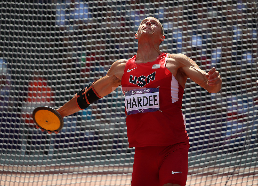 Trey Hardee of the USA competes in the discus portion of the decathlon during track and field at the Olympic Stadium during day 13 of the London Olympic Games in London, England, United Kingdom on August 9, 2012..(Jed Jacobsohn/for The New York Times)..
