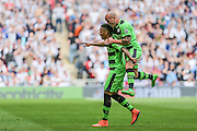 Forest Green's Keanu Marsh-Brown and Forest Green's David Pipe celebrate FGR's goal during the Conference Premier Final match between Forest Green Rovers and Grimsby Town FC at Wembley Stadium, London, England on 15 May 2016. Photo by Shane Healey.