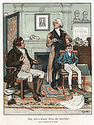 Phrenology: measuring bumps on boy's head to assess his future. On wall is picture of Gall (1757-1828) founder of the theory that shape of skull related to intellectual capacity and behaviour. 1886 illustration by Frank Dadd looking back to c1820. Chromolithograph.
