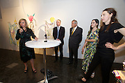 "Vienna. MuseumsQuartier (MQ Vienna) is celebrating its 10th year..Daniela Enzi, Museum Quarter Director (speaking), from r.: Elisabeth Hajek, Curator Lliure Briz, the Spanish Ambassador to Vienna, unknown..Where does fashion end and art begin? This question is at the center of the exhibition ""GET IN THE HAZE"" at freiraum quartier21 INTERNATIONAL. Curated by Lliure Briz (ESP) and opening on May 19, the show takes a close look at recognized fashion designers and artists who are not afraid of hybrid art forms."