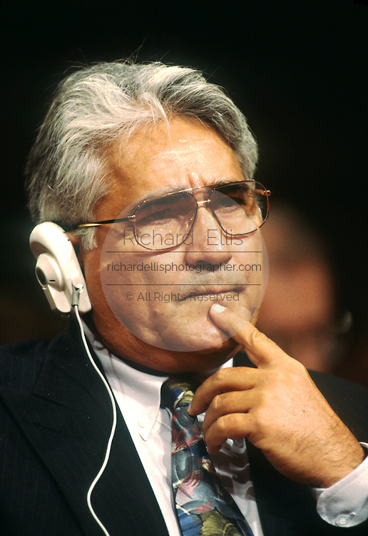 Nicaraguan contra leader Eden Pastora testifies in Congress November 26, 1996 in Washington, DC.