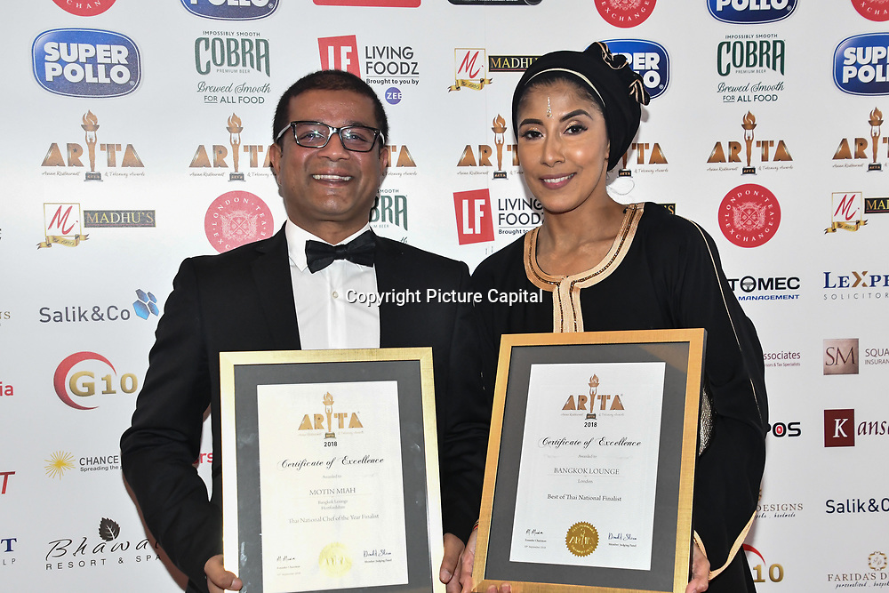 Certificate of Excellence at Asian Restaurant & Takeaway Awards   ARTA 2018 at InterContinental London - The O2, London, UK. 30 September 2018.