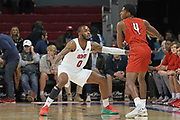 SMU Mustangs guard Tyson Jolly (0) guards Hartford Hawks guard Moses Flowers (4) during an NCAA college basketball game, Wednesday, Nov. 27, 2019, in Dallas.SMU defeated Hartford 90-58. (Wayne Gooden/Image of Sport)