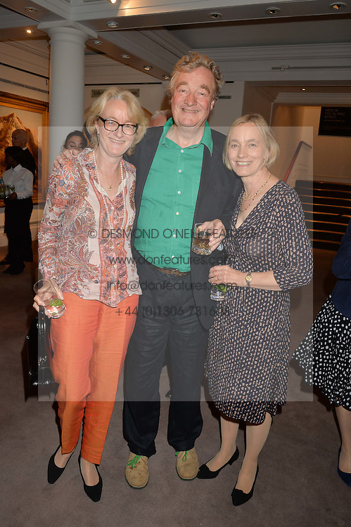 CHRISTOPHER SIMON SYKES with his sisters (L-R) HENRIETTA CAYZER and ARABELLA DELLAHUNTY at a reception to celebrate the publication of Hockney - A Pilgrim's Progress by Christopher Simon Sykes held at Sotheby's, New Bond Street, London on 30th September 2014.
