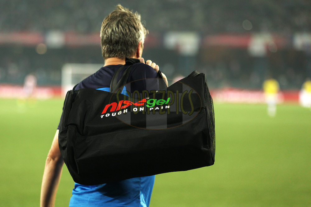 Medical Kit Bag during match 13 of the Hero Indian Super League between Atl&eacute;tico de Kolkata and Kerala Blasters FC held at the Salt Lake Stadium in Kolkata, West Bengal, India on the 26th October 2014.<br /> <br /> Photo by:  Saikat Das/ ISL/ SPORTZPICS