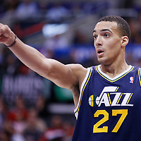 23 October 2013: Utah Jazz center Rudy Gobert (27) is seen during the Los Angeles Clippers 103-99 victory over the Utah Jazz at the Staples Center, Los Angeles, California, USA.