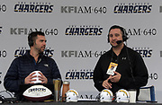 Dec 31, 2017; Carson, CA, USA; KFI AM-640 radio broadcaster Kris Ankarlo (left) and Beto Duran during an NFL football game between the Los Angeles Chargers and the Oakland Raiders at StubHub Center.