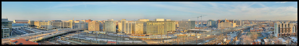 GigaPixel Panorama of NoMa neighborhood of Washington, DC.  Shows rear of Union Station.  Image Captured in 2011.<br />