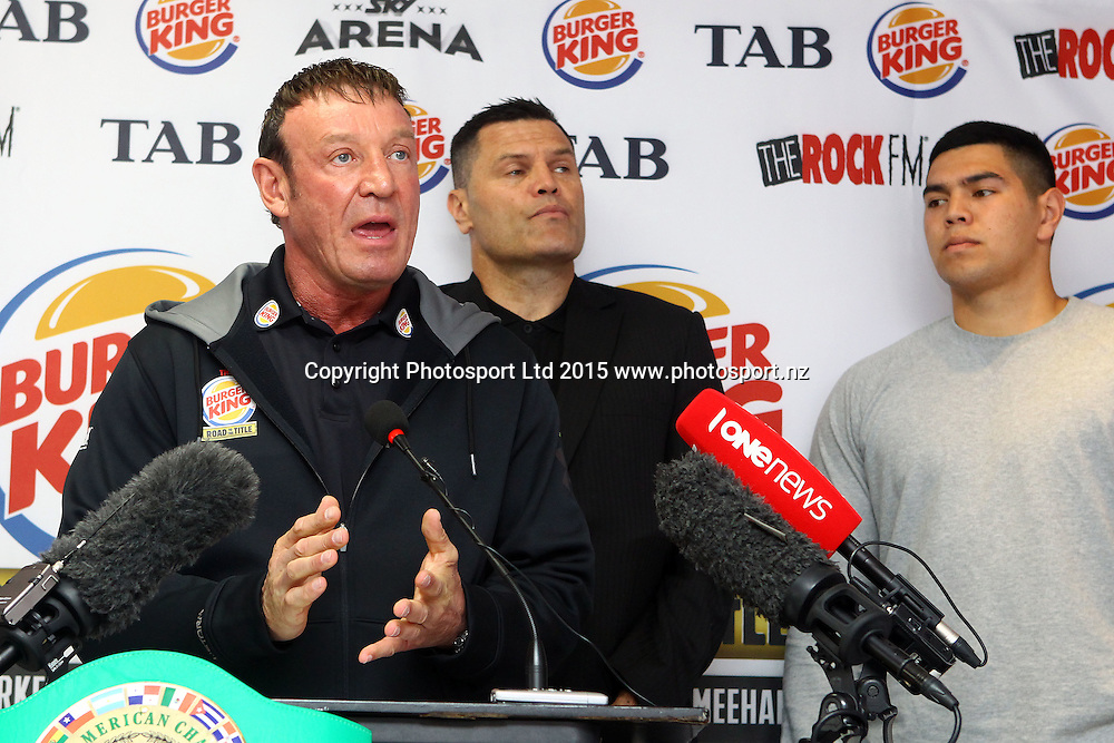 (L to R) Trainer Kevin Barry, Kali Meehan and Willis Meehan, Burger King, Road to the Title press conference ahead of Thursdays boxing event. Burger king Lincoln Rd, Auckland. 13 October 2015. Copyright Photo: William Booth / www.photosport.nz