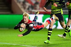 Mat Protheroe of Bristol Rugby scores - Mandatory by-line: Alex Davidson/JMP - 08/12/2017 - RUGBY - Ashton Gate Stadium - Bristol, England - Bristol Rugby v Leinster 'A' - B&I Cup