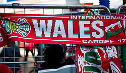 A scarf with Wales emblazoned on it <br /> <br /> Photographer Simon King/Replay Images<br /> <br /> Under Armour Series - Wales v Tonga - Saturday 17th November 2018 - Principality Stadium - Cardiff<br /> <br /> World Copyright © Replay Images . All rights reserved. info@replayimages.co.uk - http://replayimages.co.uk