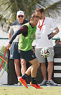 England manager Roy Hodgson (L) watches Wayne Rooney of England during the England open training session at Est&aacute;dio Claudio Coutinho, Urca, Rio de Janeiro<br /> Picture by Andrew Tobin/Focus Images Ltd +44 7710 761829<br /> 16/06/2014