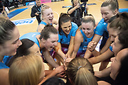 The Steel celebrate winning the ANZ Premiership netball final during the ANZ Premiership netball match final between the Pulse & Steel at the Fly Palmy Arena in Palmerston North on Sunday the 12th of August 2018. Copyright Photo by Marty Melville / www.Photosport.nz