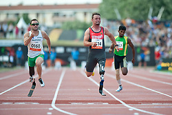 REARDON Scott, POPOW Heinrich, AUS, GER, 100m, T42, 2013 IPC Athletics World Championships, Lyon, France