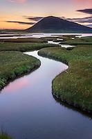 Sonnenuntergang über den Northton Salt Marshes, Isle of Harris.