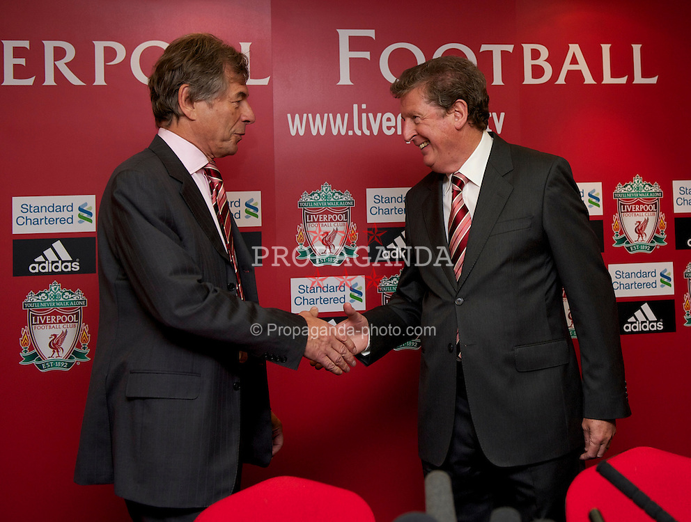 LIVERPOOL, ENGLAND - Thursday, July 1, 2010: Liverpool Football Club's new manager Roy Hodgson and Chairman Martin Broughton during a press conference at Anfield. (Pic by David Rawcliffe/Propaganda)