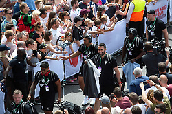 Charles Piutau of the Barbarians and assistant coach Jonathan Thomas arrives at Twickenham - Mandatory byline: Patrick Khachfe/JMP - 07966 386802 - 02/06/2019 - RUGBY UNION - Twickenham Stadium - London, England - England XV v Barbarians - Quilter Cup International