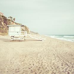 Malibu Zuma Beach lifeguard tower #4 photo in retro teal and brown. Malibu is a coastal beach city in Southern California in the United States of America. Copyright ⓒ 2015 Paul Velgos with All Rights Reserved.