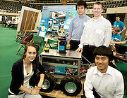 Displaying their mechanically controlled snoiw plow are Samantha Craig, Kuangmin Li Ryan Kollar and Pengfez Duan.