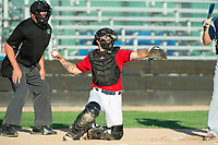 KELOWNA, BC - JULY 17:  Catcher Jake Fischer #19 of the Kelowna Falcons returns the ball to the pitcher against the Wenatchee Applesox at Elks Stadium on July 17, 2019 in Kelowna, Canada. (Photo by Marissa Baecker/Shoot the Breeze)