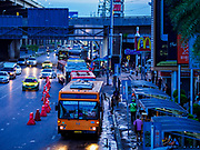25 SEPTEMBER 2017 - RANGSIT, PATHUM THANI, THAILAND: Buses at the transit station in front of Future Park Mall in Rangsit.       PHOTO BY JACK KURTZ