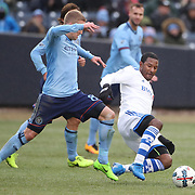 NEW YORK, NEW YORK - March 18: Patrice Bernier #8 of Montreal Impact is challenged by Alexander Ring #8 of New York City FC during the New York City FC Vs Montreal Impact regular season MLS game at Yankee Stadium on March 18, 2017 in New York City. (Photo by Tim Clayton/Corbis via Getty Images)