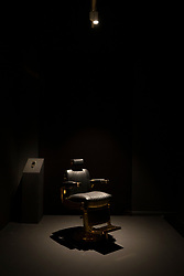 © Licensed to London News Pictures. 11/06/2019. London, UK. 'The Barber's Chair, 2017' by artist Faisal Abdu'Allah at is shown at the 'Get Up, Stand Up Now: Generations of Black Creative Pioneers' exhibition at Somerset House, London. This major new exhibition celebrates the past 50 years of Black creativity in Britain and beyond. Beginning with the radical Black filmmaker Horace Ové and his dynamic circle of Windrush generation creative peers and extending to today's brilliant young Black talent globally, a group of around 100 interdisciplinary artists are showcasing their work together for the first time, exploring Black experience and influence, from the post-war era to the present day. The exhibition opens on June 12, 2019 and runs until September 15, 2019.  Photo credit: Peter Macdiarmid/LNP