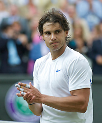 LONDON, ENGLAND - Friday, July 1, 2011: Rafael Nadal (ESP) applauds after the Gentlemen's Singles Semi-Final match on day eleven of the Wimbledon Lawn Tennis Championships at the All England Lawn Tennis and Croquet Club. (Pic by David Rawcliffe/Propaganda)