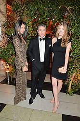 Left to right, IMAN JOUALI, LUCA DEL BONO and SCHUYLER MACK at the inaugural dinner for The Queen Elizabeth Scholarship Trust hosted by Viscount Linley at the V&A museum, London on 25th February 2016.