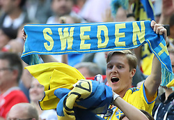 SAINT PETERSBURG, July 3, 2018  Fans of Sweden celebrate after the 2018 FIFA World Cup round of 16 match between Switzerland and Sweden in Saint Petersburg, Russia, July 3, 2018. Sweden won 1-0 and advanced to the quarter-final. (Credit Image: © Cao Can/Xinhua via ZUMA Wire)