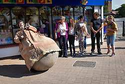 Mr Culbuto from France is a life-size Weeble toy and waits for people to play with him in South Woodham Ferrers Town centre.