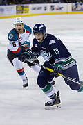 KELOWNA, CANADA - APRIL 30:  Jack Cowell #8 of the Kelowna Rockets, Sami Moilanen #18 of the Seattle Thunderbirds at the Kelowna Rockets game on April 30, 2017 at Prospera Place in Kelowna, British Columbia, Canada.  (Photo By Cindy Rogers/Nyasa Photography,  *** Local Caption ***