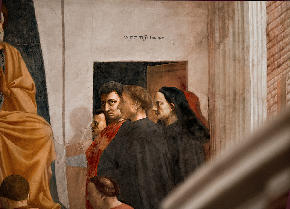 The same year, 1424, Masaccio and Masolino were painting the Brancacci Chapel in the Church of the Carmine.  As always I look for the details that show some personality.  Slightly thuggish looking Masaccio self portrait.  He died at the age of 27, rumored to have been poisoned by some competing painter.  Masolino the shorter man at left, and the jug-eared man Bruneslleschi.  The man in the foreground possibly Leon Battista Alberti.  They are in the audience of St. Peter enthroned.