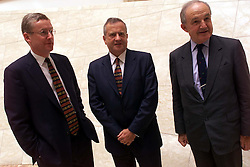 Results for the Royal Bank of Scotland. L to R Fred Goodwin Chief Executive, Sir George Mathewson, Executive Deputy Chairman, Viscount Younger of Leckie, Chairman, August 1, 2000. Photo by Andrew Parsons/i-Images.