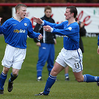 Brechin v St Johnstone...27.03.04<br />Chris Hay rushes to congratulate Mark Baxter after he scored St Johnstone's second goal<br /><br />Picture by Graeme Hart.<br />Copyright Perthshire Picture Agency<br />Tel: 01738 623350  Mobile: 07990 594431