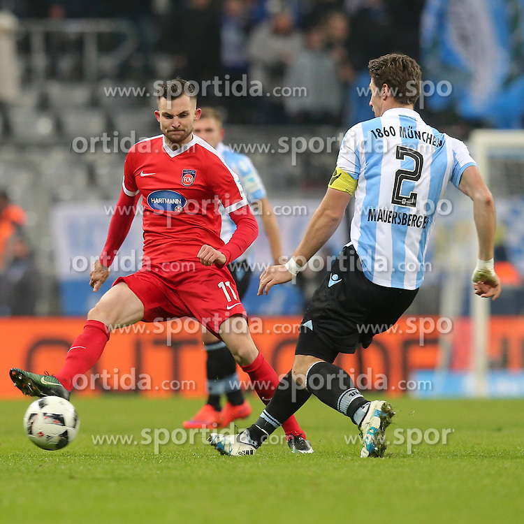16.12.2016, Allianz Arena, M&uuml;nchen, GER, 2. FBL, TSV 1860 Muenchen vs 1. FC Heidenheim, 17. Runde, im Bild Denis Thomalla ( 1.FC Heidenheim #11) Jan Mauersberger ( TSV 1860 Muenchen #2 ) // during the 2nd German Bundesliga 17th round match between TSV 1860 Muenchen vs 1. FC Heidenheim at the Allianz Arena in M&uuml;nchen, Germany on 2016/12/16. EXPA Pictures &copy; 2016, PhotoCredit: EXPA/ Eibner-Pressefoto/ Langer<br /> <br /> *****ATTENTION - OUT of GER*****