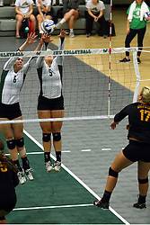 28 October 2016:  Maisy Bowden and Tyler Brown during an NCAA womens division 3 Volleyball match between the DePauw Tigers and the Illinois Wesleyan Titans in Shirk Center, Bloomington IL
