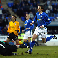 St Johnstone v Raith Rovers...24.01.04<br />Chris Hay scores his second goal past Ramiro Gonalez<br /><br />Picture by Graeme Hart.<br />Copyright Perthshire Picture Agency<br />Tel: 01738 623350  Mobile: 07990 594431
