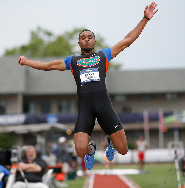 Florida's KeAndre Bates jumped 26-5 to win the mens's long jump on the first day the NCAA college track and field championships in Eugene, Ore., Wednesday, June 7, 2017. (AP Photo/Timothy J. Gonzalez)